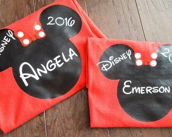 Disney T-shirt - Personalized Disney T-shirt - Mickey - Minnie - Names - Year - Disney