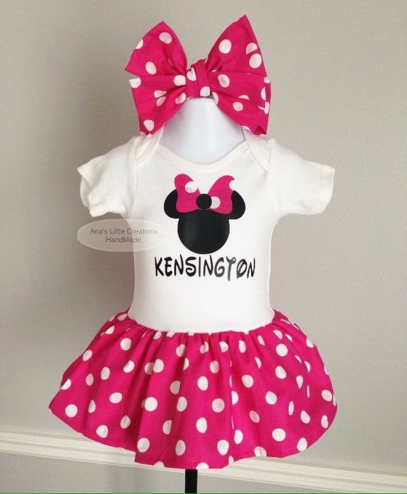 Minnie Mouse Dress, Minnie Mouse Bodysuit Dress and Self Tied Headwrap 2pc Set, Minnie Mouse Baby Dress and Self Tied Headwrap 2pc Set