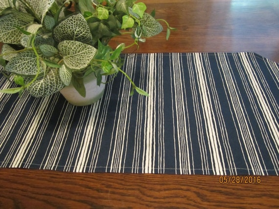Blue and white striped table runner in two sizes