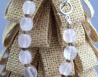 Rose Quartz + Smoky Quartz + Sterling Silver Toggle Clasp Bracelet