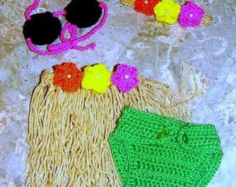 Crochet Finished Hula Photo Prop Outfit Newborn