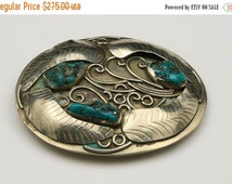 VALENTINE SALE Vintage Sterling Silver Turquoise Nugget Belt Buckle Mexico Southwestern Style