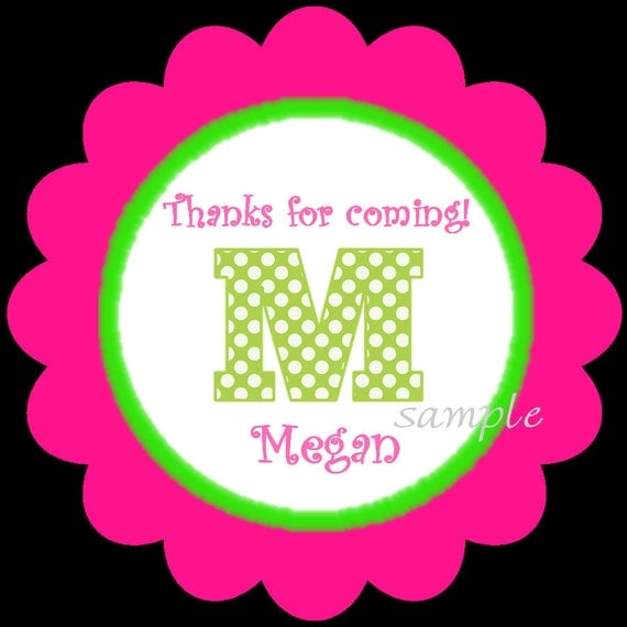 Personalized Initial/Monogram birthday stickers, HOT COLORS, Gift, Stickers, Present, Polka Dots, Labels, Seals, Kids, Children