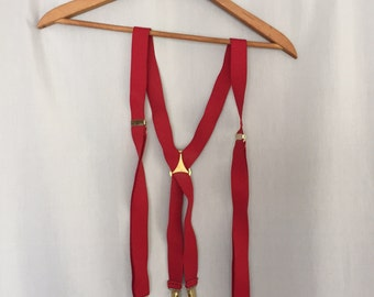 Red Suspenders Vintage Elastic Stretch Gold Metal Clips