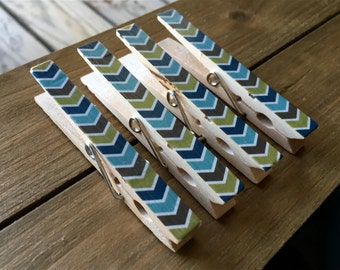 Brown, Blue, and Green Clothespin Magnets, Striped Decorated Clothespins, Fridge Magnets
