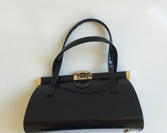 Vintage Black Patent Leather Handbag from the Sixties
