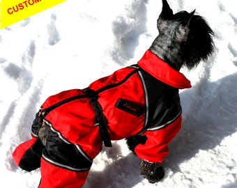 ANY BREED! Waterproof Dog Winter Clothes. Custom Made Dog Snowsuit. Size M. Winter Full Body Jacket. Warm Overall. Free Shipping!