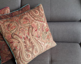 Velvet Paisley decorative pillow cover Green
