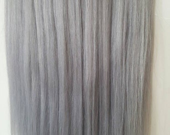 Grey hair extension etsy 18 200g magic halo miracle wire human hair extensionssilver pmusecretfo Choice Image