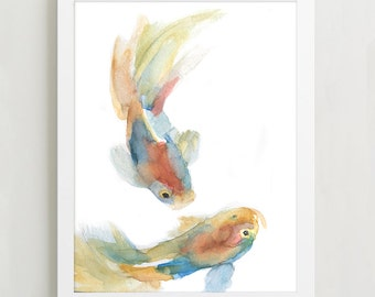 Koi Fish Watercolor Painting 8x10 Fine Art Giclee Reproduction