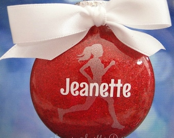 Personalized glass runner girl Christmas ornament - Custom colors and name