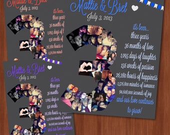 Three Year Wedding Anniversary File - Wedding Anniversary Ideas - DIGITAL - Custom Anniversary Present - 3rd Wedding Anniversary - Love