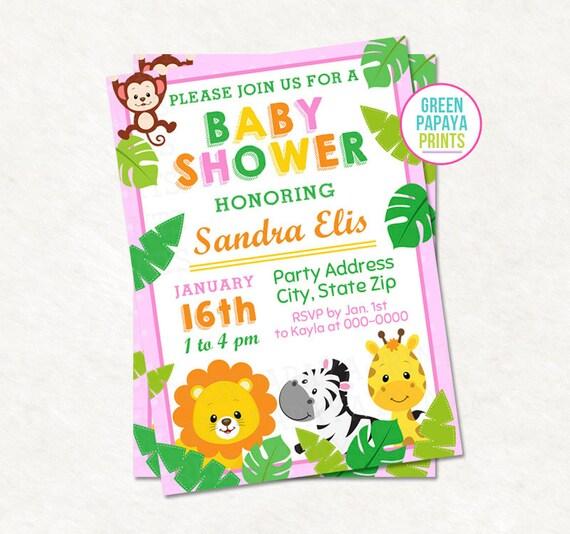 Girls safari baby shower invitation pink printable digital file il570xn filmwisefo