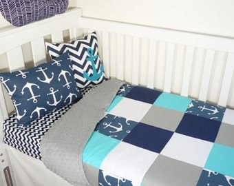 Patchwork quilt nursery set - Navy, aqua, grey and white anchors (grey minky backing)