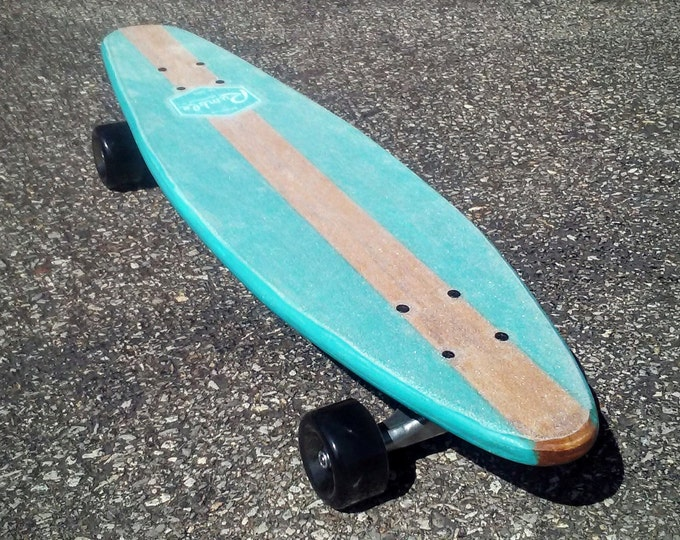 SALE, Price Reduced! Turquoise Mini Mod Longboard Deck - Handmade Vintage Inspired Longboard Skateboard with Trucks and Wheels