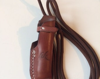 Handmade Customized leather sheath for Opinel knife No 8 and 9 (knife not included).