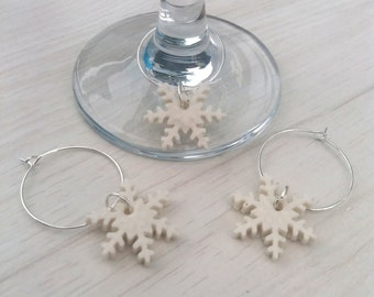 Christmas Wine Glass Charms - Wine Charms - Secret Santa Gifts for Christmas gifts for women - Adult Stocking fillers - Snowflake Gifts