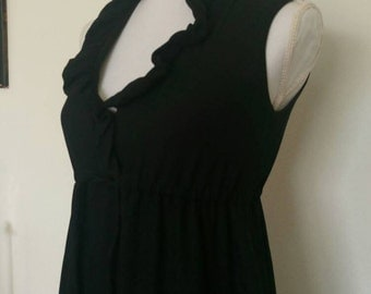 Vintage black ruffle babydoll mini dress 1960's