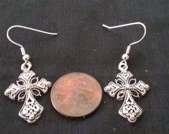 Silver Plated Cross Earrings, Nickle Free Jewely, Cross Jewelry, Religious Jewelry
