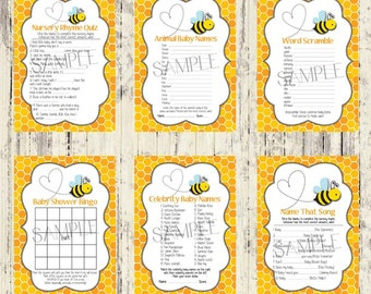 INSTANT DOWNLOAD - Set of 6 Printable Baby Shower Games - Matching Bee Baby Shower Invitation - Instant Download