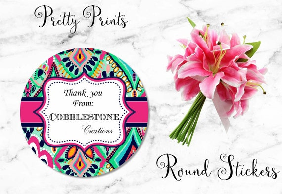 Round Stickers - Navy, Floral, Round Labels - Custom Labels - Personalized Labels - Tags - Stickers