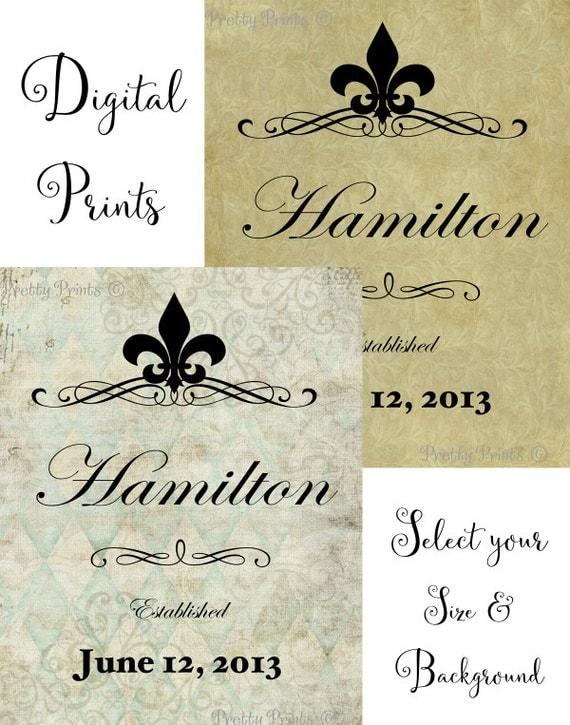 Personalized Family Name Art - Digital Print - Fleur De Lis - Name Art