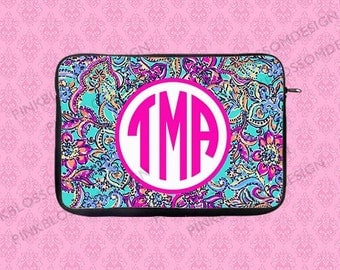 Monogram Laptop Sleeve, Lilly Pulitzer Inspired Laptop Case,Monogram Laptop Case, Macbook Sleeve, Macbook Case, iPad Sleeve, iPad Case