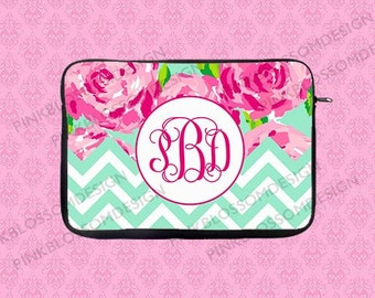 Monogram Laptop Sleeve, Personalized Laptop Sleeve, Lilly Pulitzer Inspired Macbook Case,Macbook Sleeve,Macbook Case, iPad Sleeve, iPad Case