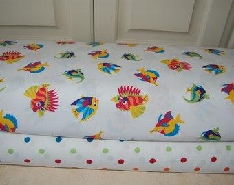 Fabric by the Yard, 100% cotton/polka dot/fish pattern