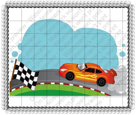 Race Car Birthday - Edible Cake and Cupcake Topper For Birthday's and Parties! - D20610