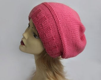 Knit cashmere hat pink bubble gum