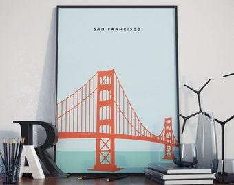 Golden Gate Bridge, San Francisco, Turquoise Colours. Print. Poster.