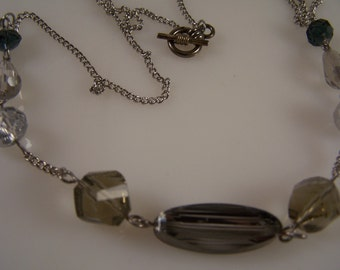 Blue Gray Silver Necklace