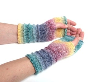 Romantic gift for her stripped arm warmers womens knit mittens wool womens gift colorful knit Fingerless Gloves