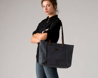 Waxed canvas bag NURIA grey