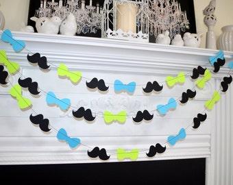 Bowtie Baby Shower Garland, 1st Birthday Party Decor, Mustache baby shower Decorations,  Mustache Bash, Little man birthday, lime green