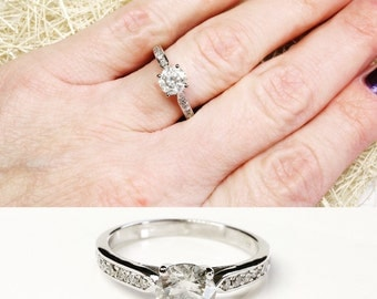 ON SALE 0.90 ct !!!!!  White Gold Engagement Ring - Diamond Engagement Ring - White Gold Ring - Side Stone Engagement Ring - Bridal Jewelry