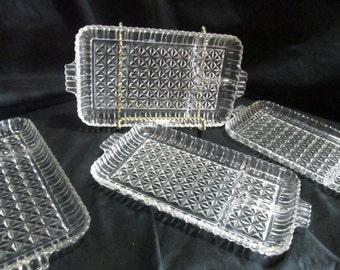 serving  plates  snack set trays Retangle divided lap party dessert,  set of 4, Vintage 1950s