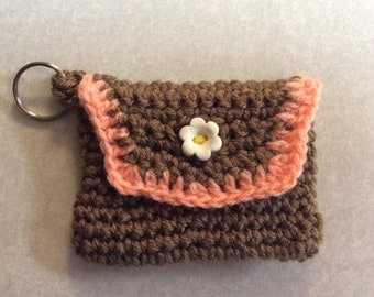 Business card holder, drivers license holder, key chain, key ring, lip balm holder, gift ideaHand crochet, Mother's Day gift, handmade,