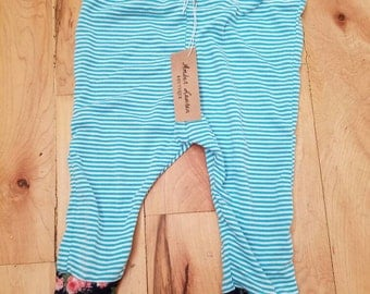 Blue stripes with floral cuffs, blue striped leggings, handmade leggings, pattern mix leggings, floral leggings,