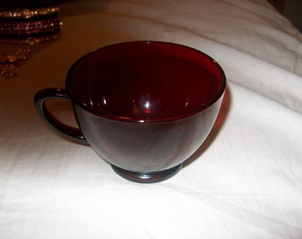 8 Vintage Ruby Red Glass Punch Cups (Price for all 8)