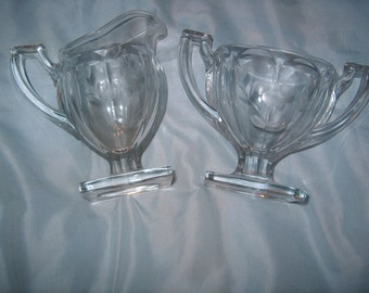 Vintage Etched Glass Cream & Sugar Bowl, WAS 25.00 - 50% = 12.50