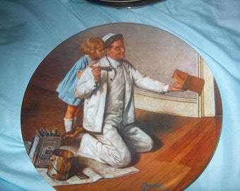 Vintage Norman Rockwell Plate, The Painter, 7th  Rockwell Heritage Collection, Knowles, 1983, WAS 12.50 - 50% = 6.25