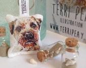 Animal Keyring, Border Terrier , Handbag accessory, Key holder, Animal, British, Watercolour animal, personal accessory, Pets, Dogs
