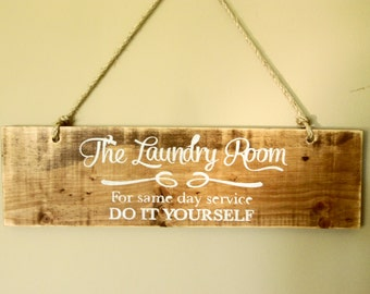 "Custom rustic ""Laundry - for same day service, do it yourself"" rope distressed wooden hanging wall/door sign, 20"" x 5.5"" - Custom colors"