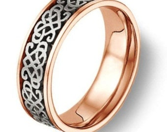Celtic Heart Knot Wedding Band Two Tone Gold