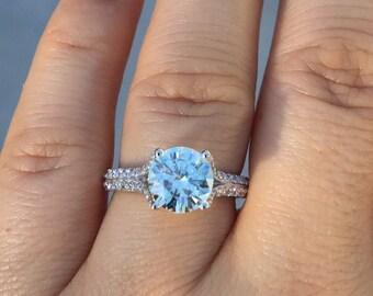Forever One Moissanite Engagement Ring Diamond Split Shank Classic Engagement Ring 14K White Gold Wedding Ring Celebrity Ring - V1117