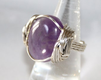 Amethyst Ring, Wire Wrapped Ring, Amethyst Jewelry, Wire Wrap Ring, Wire Wrapped Jewelry, Gemstone Ring, Silver Ring