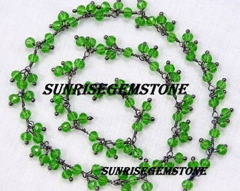 Hurry! Sale 40% Off 2 Feet Peridot Hydro Faceted Rondelle 3.50 mm Beads Black Plated Cluster / Dangling / Angoori / Grape Chain.