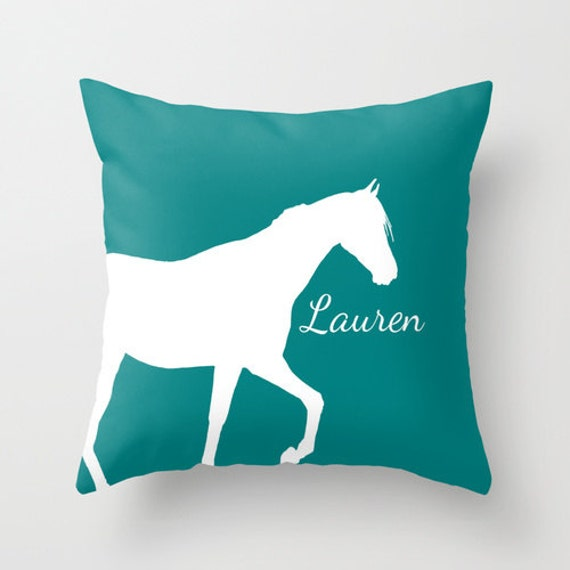 Decorative Horse Pillows : Personalized Horse Throw Pillow Cover Teal Horse Decor Horse